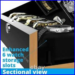 10 Automatic Watch Winder Storage Case with LED Lighting Piano Black Display