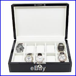 10 Piece High Gloss Piano Black Mens Watch Box Display Case Collection Jewelry