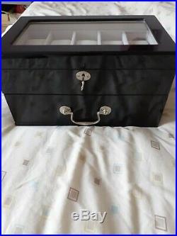12 Watch wood Display Storage Case black piano Finnish. Away until 4/3/20