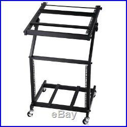 19 Rack Mount Mixer Case Stand 9U Studio Piano Stage Club DJ Cart Holder Black