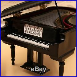 2XBlack Baby Grand Piano Music Box with Bench and Black Case Music of the O2O1