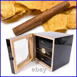 3-Layer Cedar Humidor Lined Cigar Hygrometer Humidifier Piano Finish Wood Case