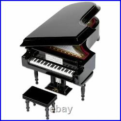 3XBlack Baby Grand Piano Music Box with Bench and Black Case Music