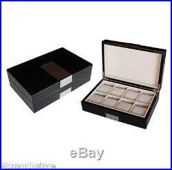 8 Black Piano Gloss Lacquer Large Pillows Watch Display Jewelry Case Storage Box