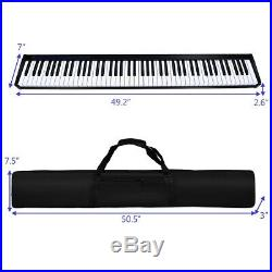 88 Key Digital Piano Midi Keyboard With Pedal And Portable Carrying Case Black
