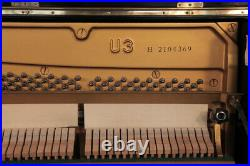 A 1975, Yamaha U3 upright piano for sale with a black case. 3 year warranty