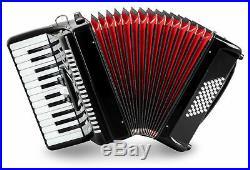 Accordion 48 Bass Buttons 26 Treble Keys Piano Concertina Case Straps Set Black