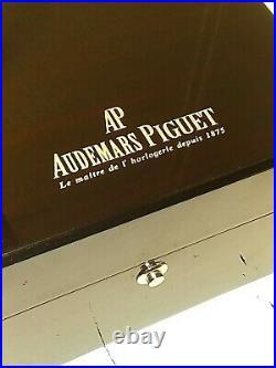 Audemars Piguet Royal Oak Watch Box, Piano Black Wooden Storage Case USA SELLER
