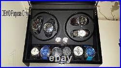 Automatic Dual Watch Winder Ebony Quad Piano Wood Rotation Display Box 4+6 Case