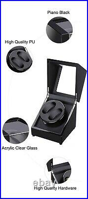 Automatic Watch Winder Box Dual Watch Turner Rotator Case Wooden Piano Black v1
