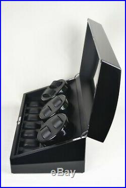 Automatic Watch Winder Piano Black Wood Rotation Display Box 6+7 Case