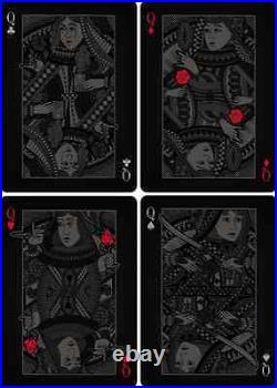 Bicycle Playing Cards Double Black (4 Deck set+Luxury 4 Deck Piano Case) RARE