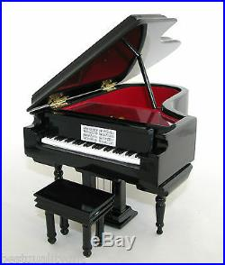Black Grand Piano Jewelry Music Box+case+bench Candle In The Wind Py02bk-a