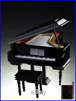 Black Grand Piano Music Box with Case Instrument Replica Figurine Fur Elise 8 In