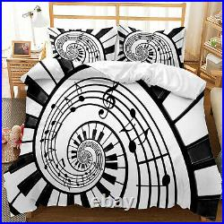 Black and White Piano Key Notes Duvet Cover Set Comforter Cover Pillow Case