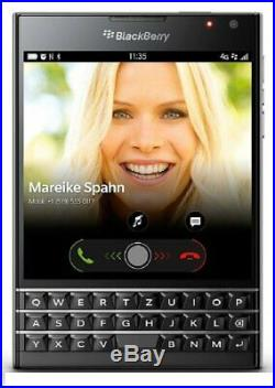 Blackberry Passport 8B0F Piano Black Unlocked + Snugg Leather Case + Sync Pod