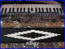 Bonetti Black/Pearl Grey Model 1321 Bass Piano Accordion 120Bass 13Switch withcase