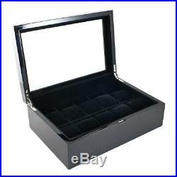 Caddy Bay Collection Piano Glossy Black Wood Watch Case Display Storage Box