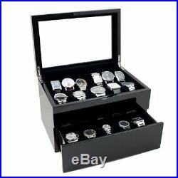 Collection Piano Glossy Black Wood Watch Case Display Storage Box Glass Top Hold