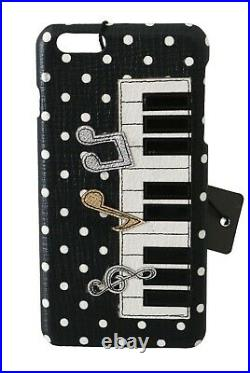 DOLCE & GABBANA Phone Case Cover Black Piano Patch Leather iPhone 6 Plus