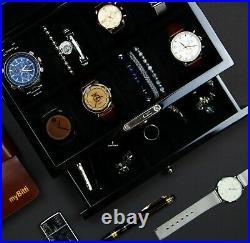 Decorebay Piano Finish Carbon Fiber Pattern 8-Slot Watch Jewelry Storage Case