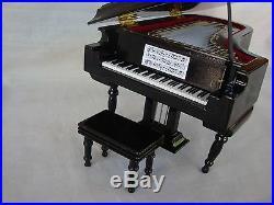 GRAND PIANO Music Box 7x5 Plays BLUE DANUBE Black Case Great MUSIC Gift NEW