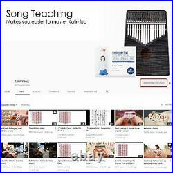 Gecko Kalimba 17 Key Thumb Piano, Case Study Notes Music Tuner Black Tuning