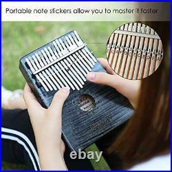 Gecko Kalimba 17 Key Thumb Piano, Case Study Notes Music Tuner Black Tuning With