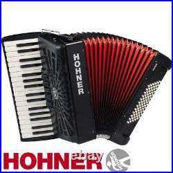 Hohner Chromatic Piano Accordion Bravo III 72, Jet Black, with Gig Bag & Straps