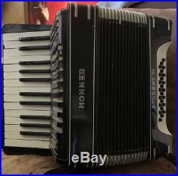 Hohner Student III 24 Bass Piano Accordion + Case Black/White Art Deco Design