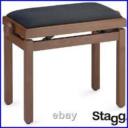 NEW Stagg PB39-CHMM-VBK Medium Matte Oak Piano Bench with Black Velvet Top
