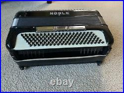 Noble Piano Accordion Vintage Black Works Comes With Case Made In Italy