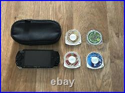 PSP-2003 2000 Console Bundle Piano Black Games Case Tested Working