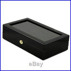 Piano Black Finish Wooden Twelve Watch Case / Watches Box (ALB3 BLK TW)