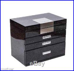Piano Finish Wooden Handwork Jewelry Box Large Mirror Necklace Case White/Black