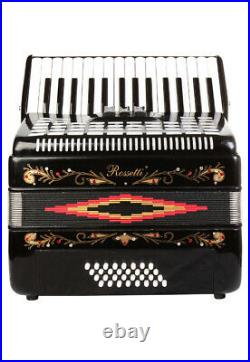 Rossetti Piano Accordion 32 Bass 30 Piano Keys 3 Switches Black