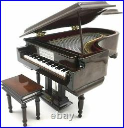 SHTWX Piano Music Box with Bench and Black Case Musical Boxes Gift for Day