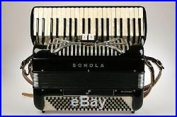 SONOLA Italian Piano Accordion Little Maestro Rivoli  Black withCase 1950's