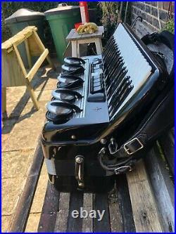 Scandalli Cardinal Musette Black & White Italian Piano Accordion & Carrying Case