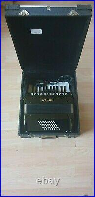Scarlatti Black Piano Accordion 48 Bass With case