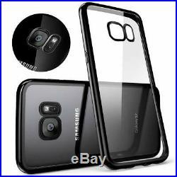 Slim Crystal Clear Piano Black Trim Bumper Gel Case Cover for All Samsung Galaxy