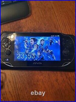Sony PS Vita WiFi OLED Piano Black 128gb SDcard 3.65, leather case