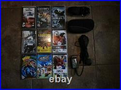 Sony PSP 2003 Memory Card 1GB + 9games + charger + battery + case Piano Black