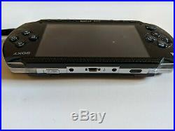 Sony PSP 3000 3001 Piano Black System Console with Case & 7 Games Tested