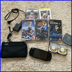 Sony PSP 3000 Piano Black Handheld System Console, Charger, 7games, case