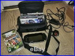 Sony PSP Bundle Piano Black 6 Games, Charger, Memory Cards, Adapter, and Case