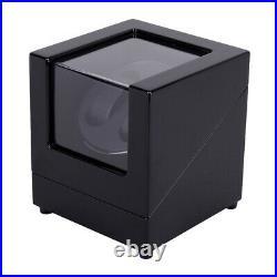 StrapsCo Piano Black & Black Leatherette Winder Storage Case for 2 Watches