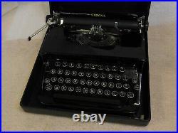 Vintage Art Deco Corona Standard Flat Top Piano Black Typewriter With Case