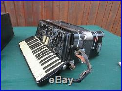 Vintage Black EXCELSIOR Accordion with Case 120 Buttons + Piano Keyboard