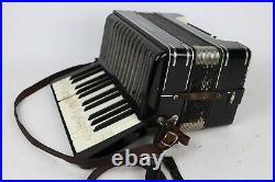 Vintage Hohner Model A-440 Black Piano Accordion with Case & Zordan's Book Germany